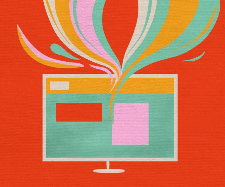 Illustration of a computer screen with waves of colour flowing upwards