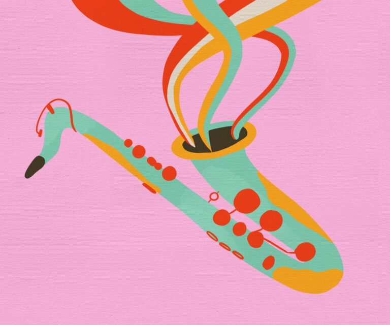 Colourful illustration of a tenor saxophone, with bursts of colour coming from the bell