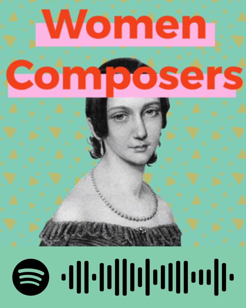 Cover of Spotify playlist. The title 'Women Composers' is on top in red, with below that an image of Clara Schumann in front of a colourful background. At the bottom, there is a Spotify code to scan.