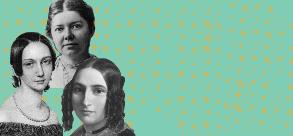 Banner image with pictures of women composers on a colourful background